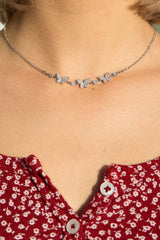 Detail Photo of Rhinestone Butterfly Necklace