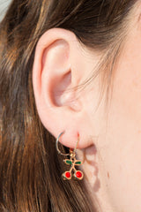 Detail Photo of Gold Cherry Earrings