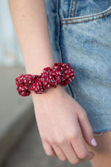 Dark Red With Pink Floral