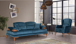 Zümrüt Sofa, Polstergarnitur Set 3-3-1