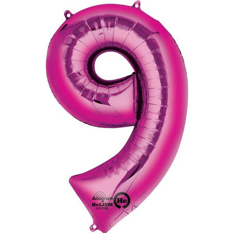 Number Balloon - 9 - Pink