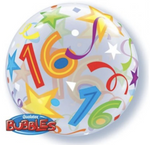 16 Birthday Brilliant Stars Single Bubble Balloon