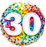 30 Birthday Rainbow Confetti Balloon