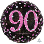 90 Black And Pink Birthday Balloon