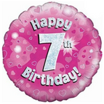7 Happy Birthday Pink Balloon