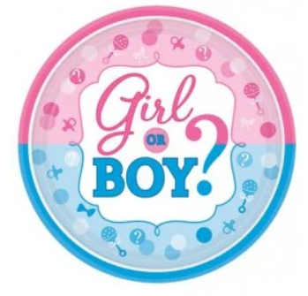 Girl or Boy Gender Reveal Plates