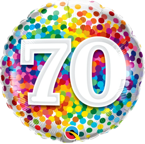 70 Birthday Rainbow Confetti Balloon