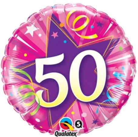 50 Shining Star Hot Pink Balloon