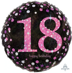 18 Black And Pink Birthday Balloon