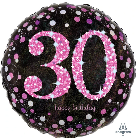30 Black And Pink Birthday Balloon