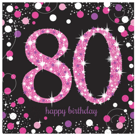 80th Happy Birthday Pink Napkins