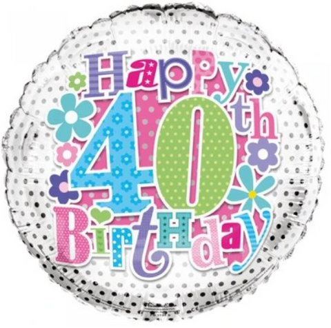 40 Birthday Flowers Balloon
