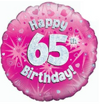 65 Birthday Pink Holographic Balloon