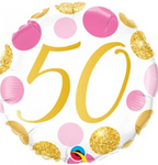 50 Pink And Gold Dots Balloon