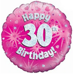30 Happy Birthday Pink Holographic Balloon