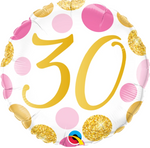 30 Pink And Gold Dots Balloon