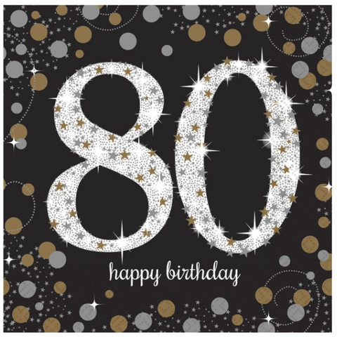 80th Happy Birthday Gold Napkins