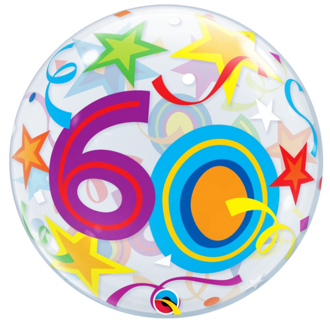 60 Birthday Brilliant Stars Bubble Balloon