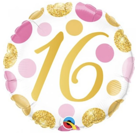 16 Pink And Gold Dots Balloon