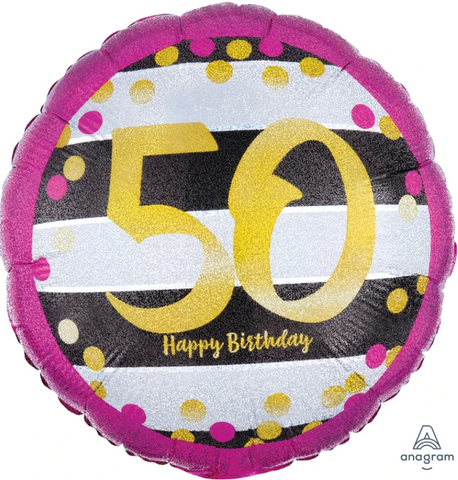 50 Pink & Gold Birthday Balloon