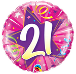 21 Shining Star Hot Pink Birthday Balloon