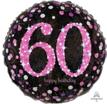 60 Black And Pink Birthday Balloon