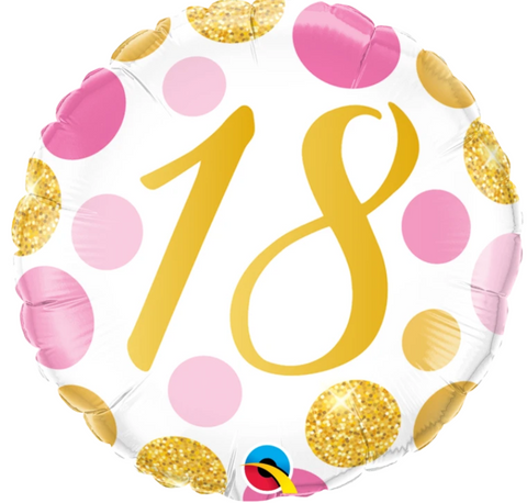 18 Pink And Gold Dots Balloon