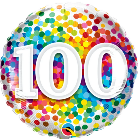 100 Birthday Rainbow Confetti Balloon