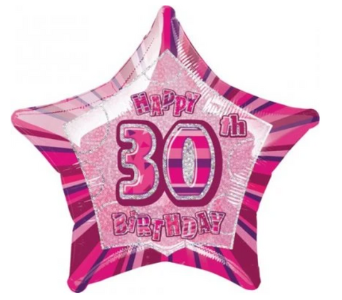 30 Birthday Pink Glitz Balloon