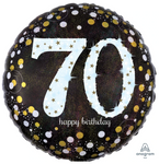 70 Black And Gold Birthday Balloon