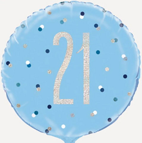 21 Blue Dotty Balloon