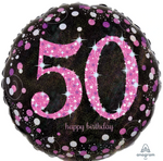 50 Black And Pink Birthday Balloon
