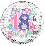 18 Birthday Flowers Balloon