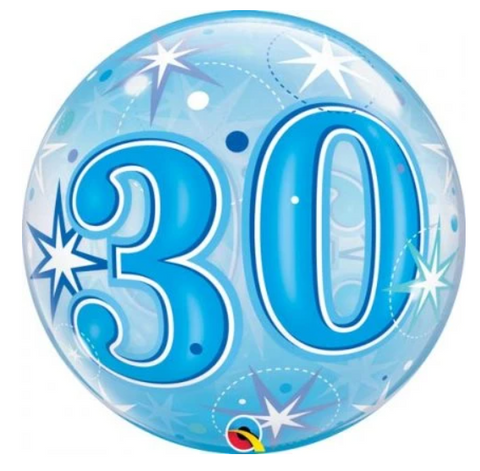 30 Blue Starburst Sparkle Bubble Balloon