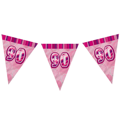 90 Pink Flag Bunting