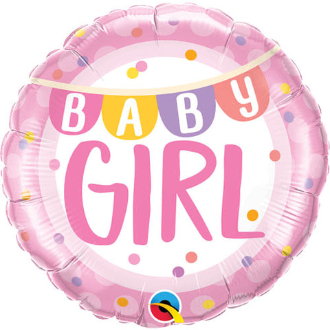 Baby Girl Banner & Dots Balloon