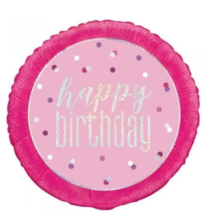 Pink & Silver Glitz Happy Birthday Balloon