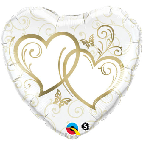 Entwined Hearts Gold Heart Balloon