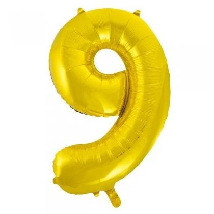 Number Balloon - 9 - Gold