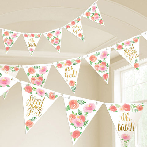 Floral Baby Girl Pennant Banner
