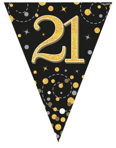 21 Black & Gold Fizz Bunting