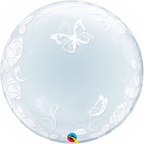 Elegant Roses & Butterflies Bubble Balloon
