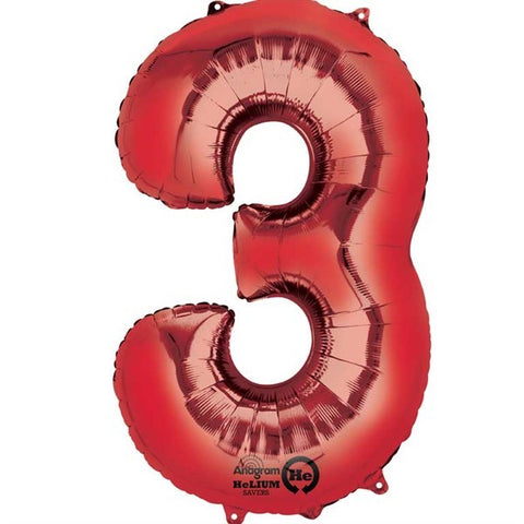 Number Balloon - 3 - Red