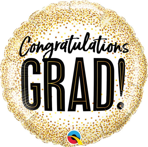 Congratulations Grad Gold Glitter Dots Balloon