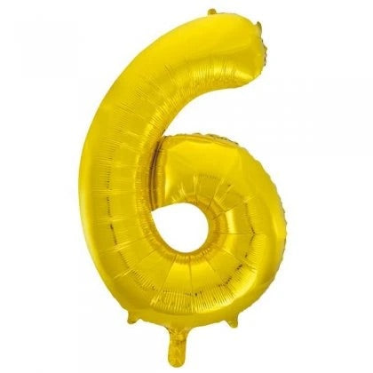Number Balloon - 6 - Gold