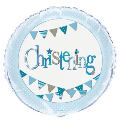Christening Blue Bunting Balloon