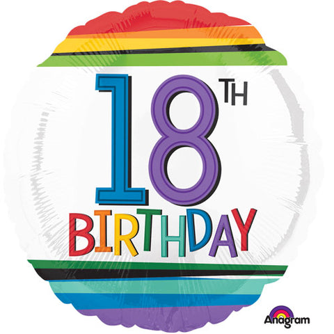18 Rainbow Stripes Birthday Balloon