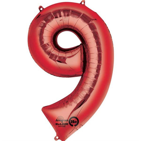 Number Balloon - 9 - Red