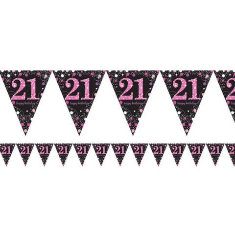 21 Pink Sparkling Bunting