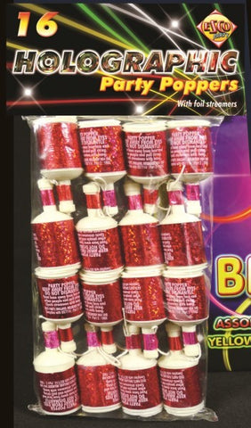 Red Party Poppers (Pack of 16)